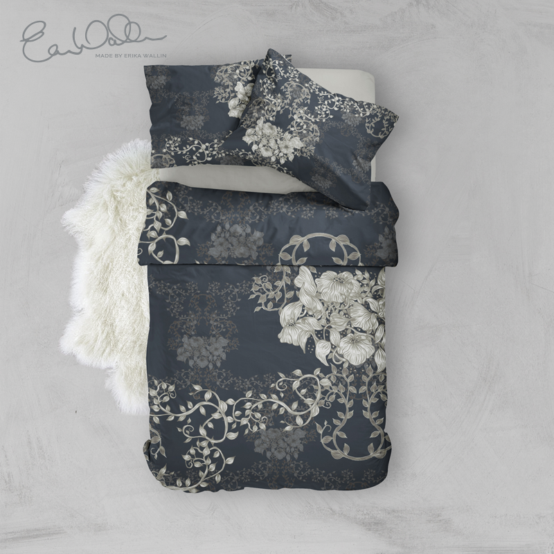 Bedset Classic Blue Pleasant With Flowers Erika Wallin
